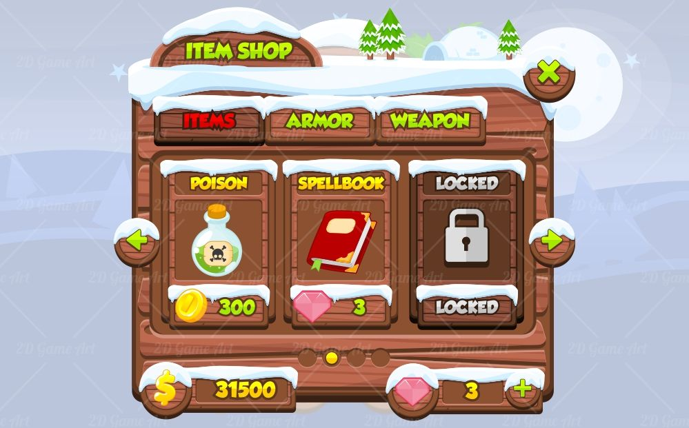 Christmas Game GUI Game Art 2D – Sample Christmas Game