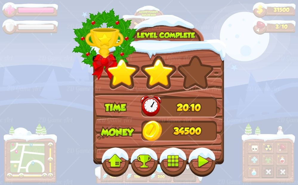 Christmas Game Gui - Game Art 2D