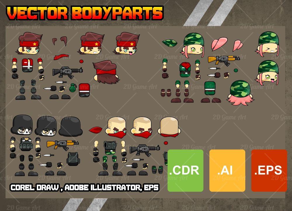 The Mercenary - Shooter Character Sprites - Game Art 2D