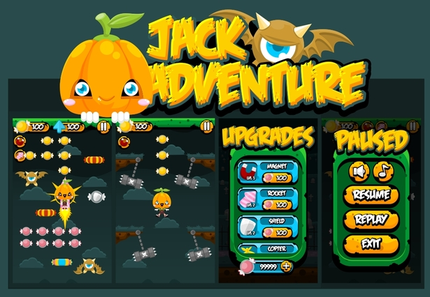 character sprite sheet halloween jack lantern copters jumping swing