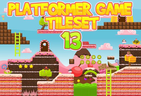 Platformer Tileset candy land fantasy cute