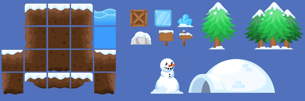 Winter Platformer Game Tileset - Game Art 2D
