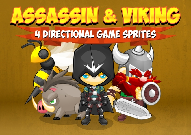 4 direction sprite rpg fantasy assassins viking