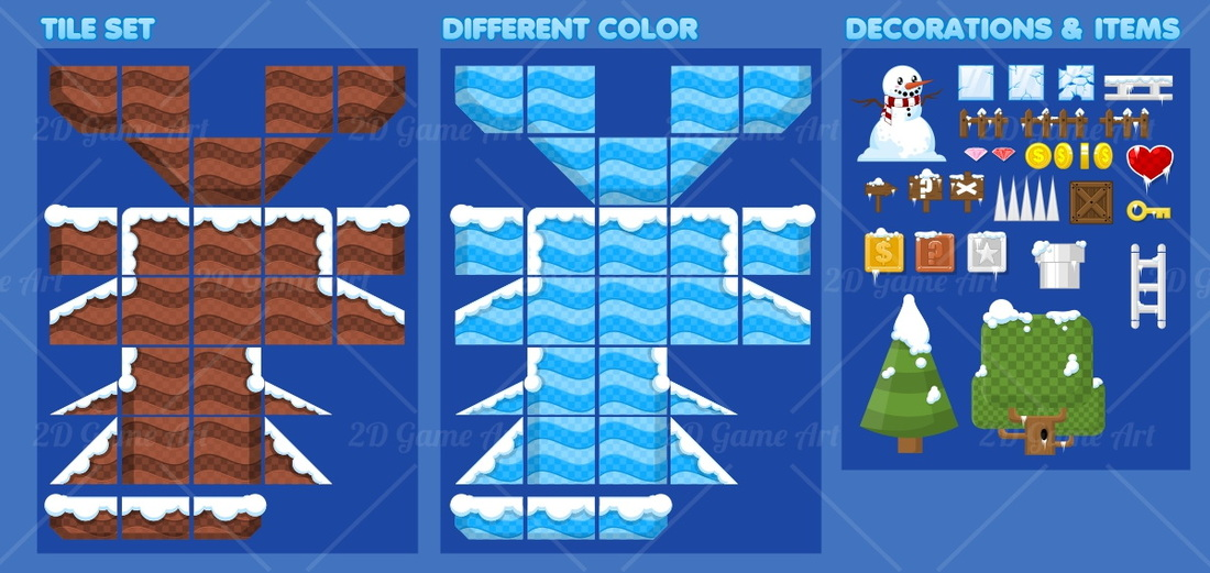 Ice Platformer Game Tileset - Game Art 2D