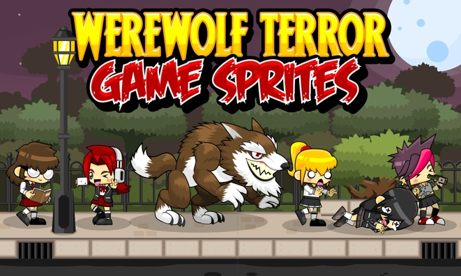 werewolf horror halloween cute girl game sprites
