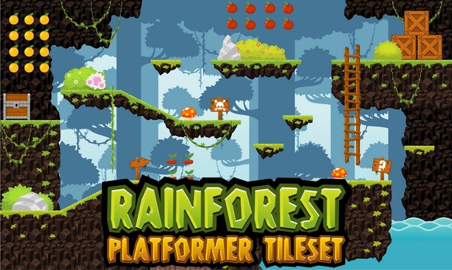 Rainforest - Platformer Tileset - Game Art 2D