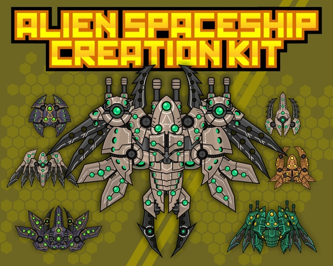 modular space shooter sprite shmup alien