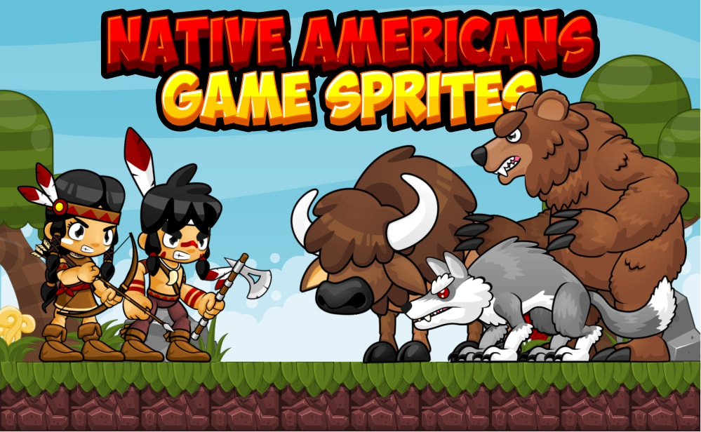 native american game sprites
