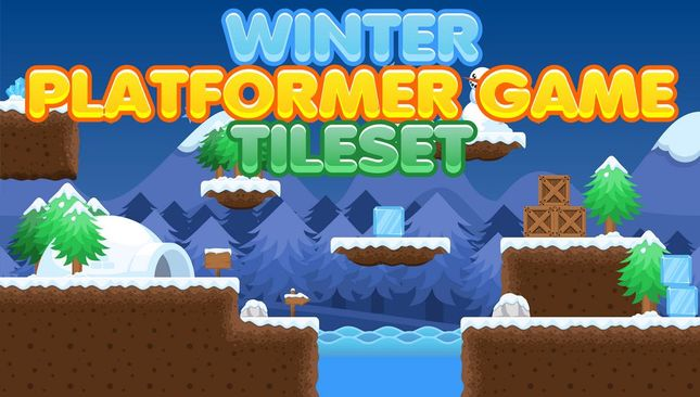platformer game tileset free tiled assets 2d winter snow christmas