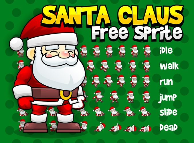 santa claus christmas winter free sprites
