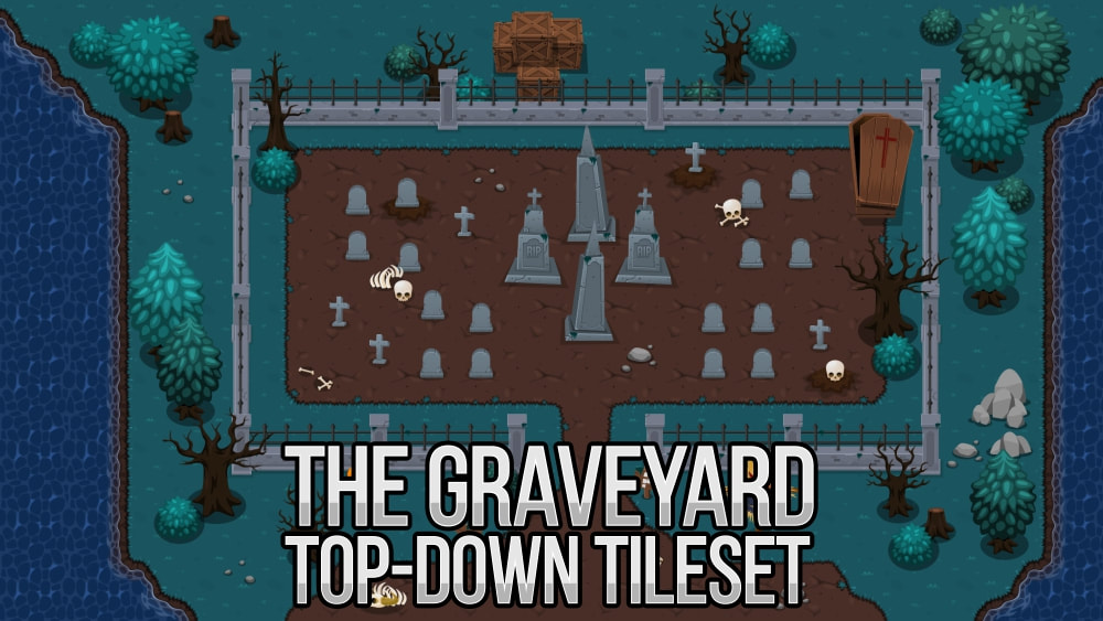 top down graveyard RPG tileset